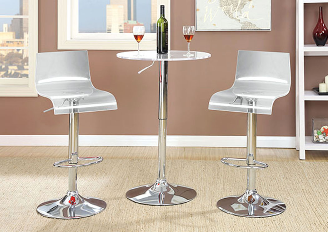 Trixy Clear Low Back Bar Chair (Set of 2),Furniture of America