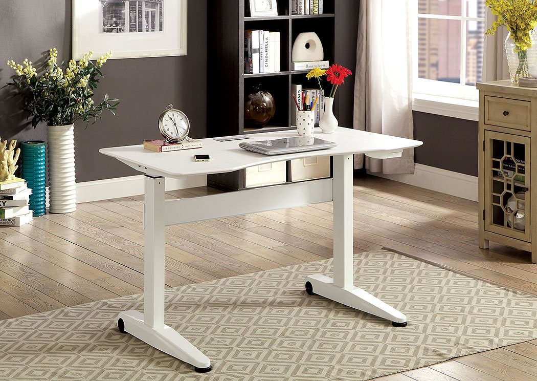 furniture ville - bronx ny kilkee white adjustable height small desk