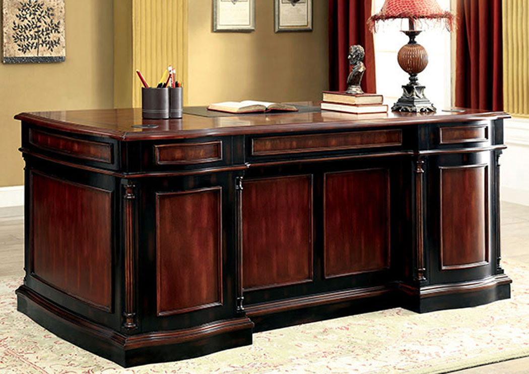 furniture of america office strandburg cherry black office desk