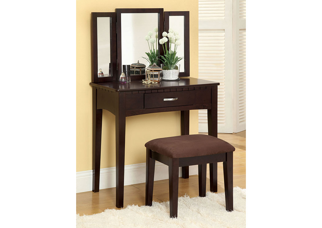 Potterville Espresso Vanity Table w/Padded Stool,Furniture of America
