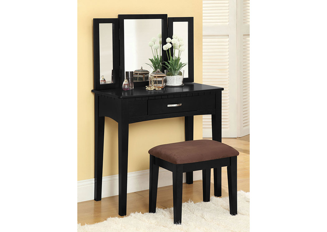 Potterville Black Vanity Table w/Padded Stool,Furniture of America