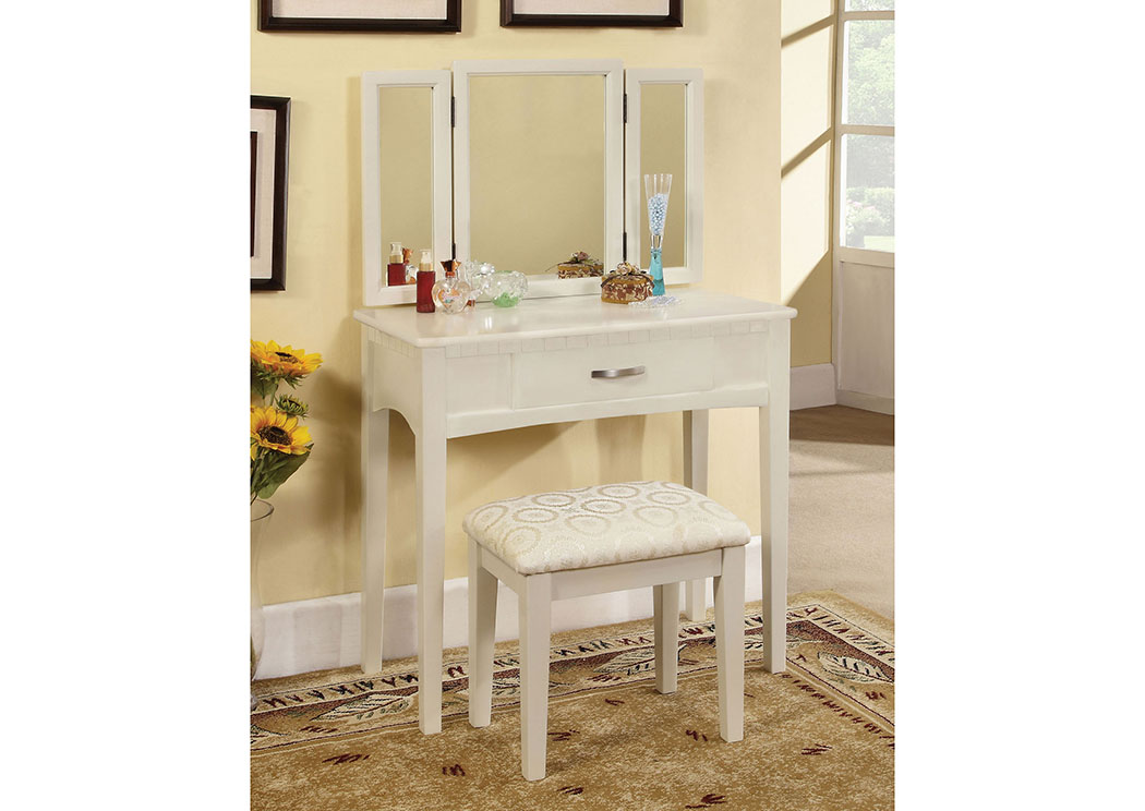 Potterville White Vanity Table w/Padded Stool,Furniture of America