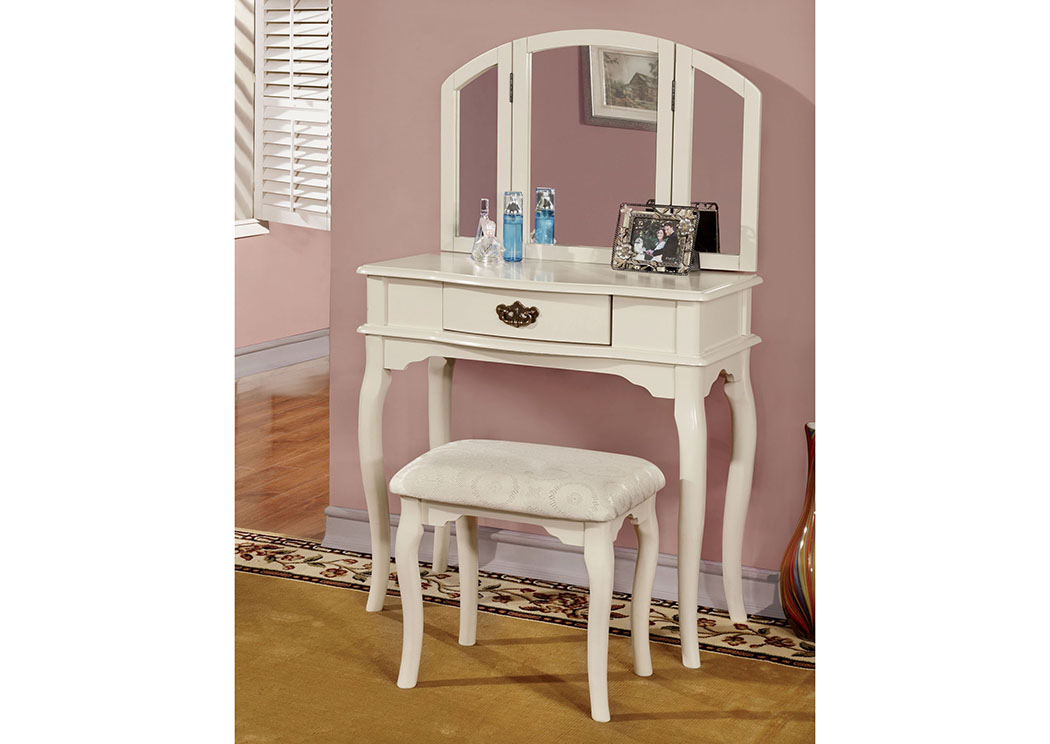 Furniture ville bronx ny winnette white vanity set w for Furniture ville