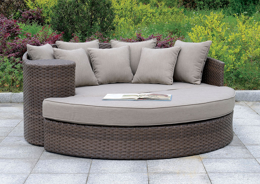 Calio Brown Round Patio Sofa & Ottoman,Furniture of America