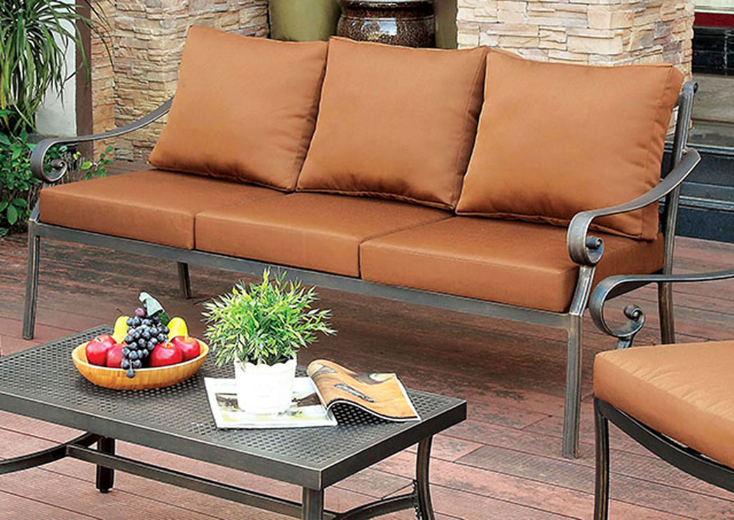 Bonquesha Distressed Black Aluminum Patio Sofa,Furniture of America