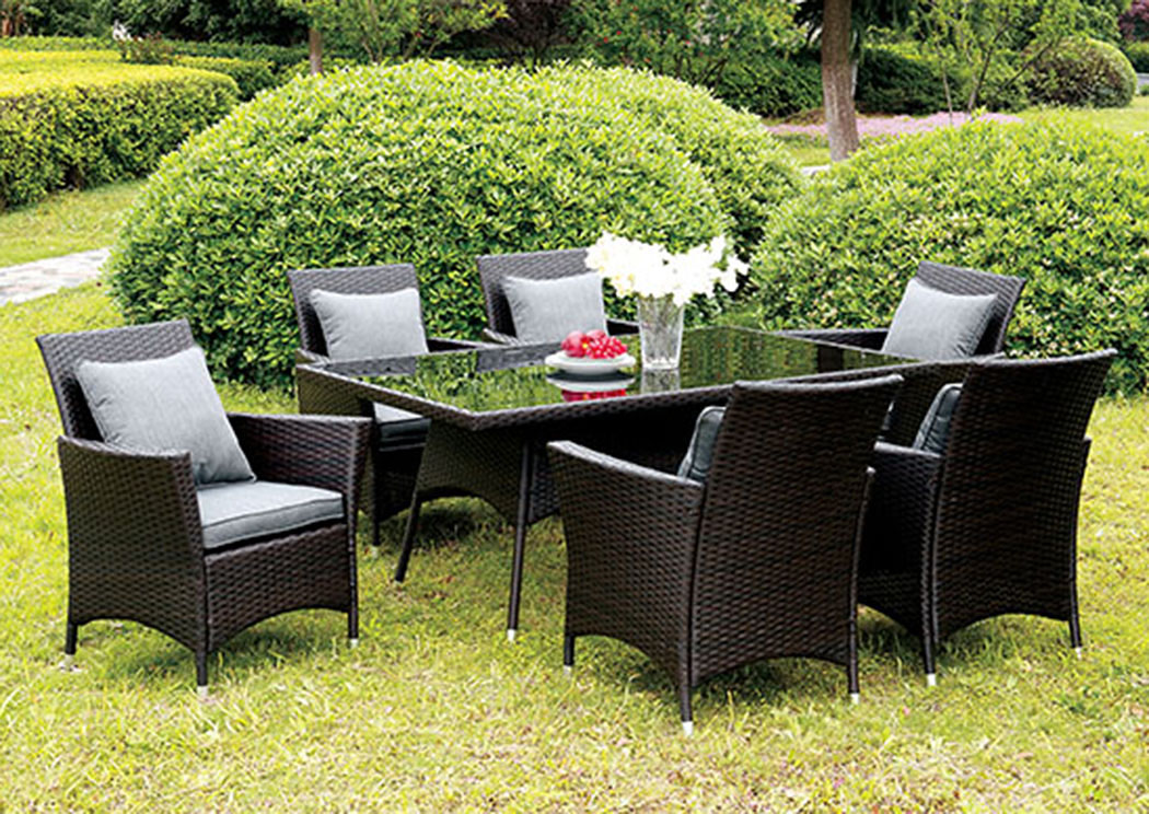 Leodore Espresso Glass-Top Patio Dining Table w/6 Gray Armed Chairs,Furniture of America