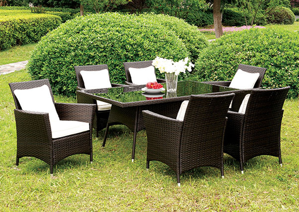 Leodore Espresso Glass-Top Patio Dining Table w/4 White Armed Chairs,Furniture of America