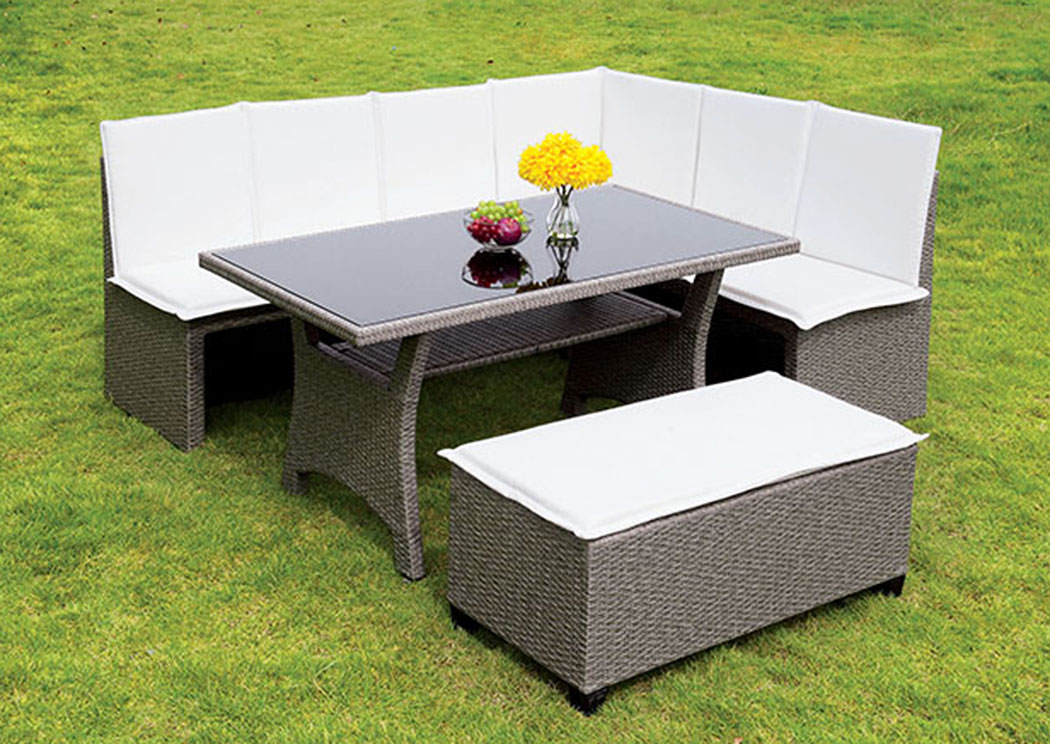 Wisheka White/Gray 3 Piece Patio Dining Set,Furniture of America