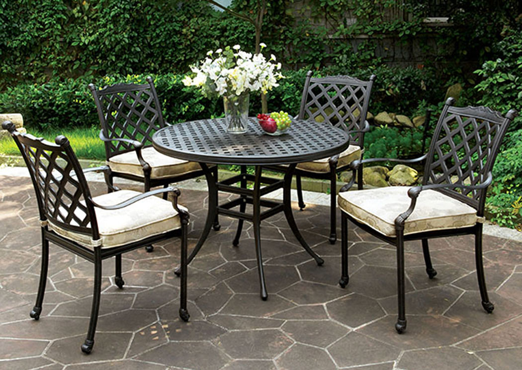 Quality Furniture WA Chiara Dark Gray Round Patio Dining Table W 4 Armed Chairs