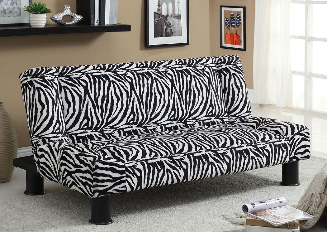 Zebria Zebra Print Microfiber Futon Sofa,Furniture Of America