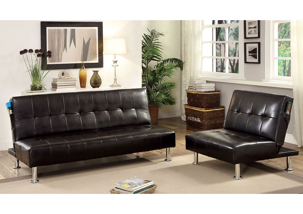 5th avenue furniture mi bulle black leatherette futon sofa for American home furniture futon