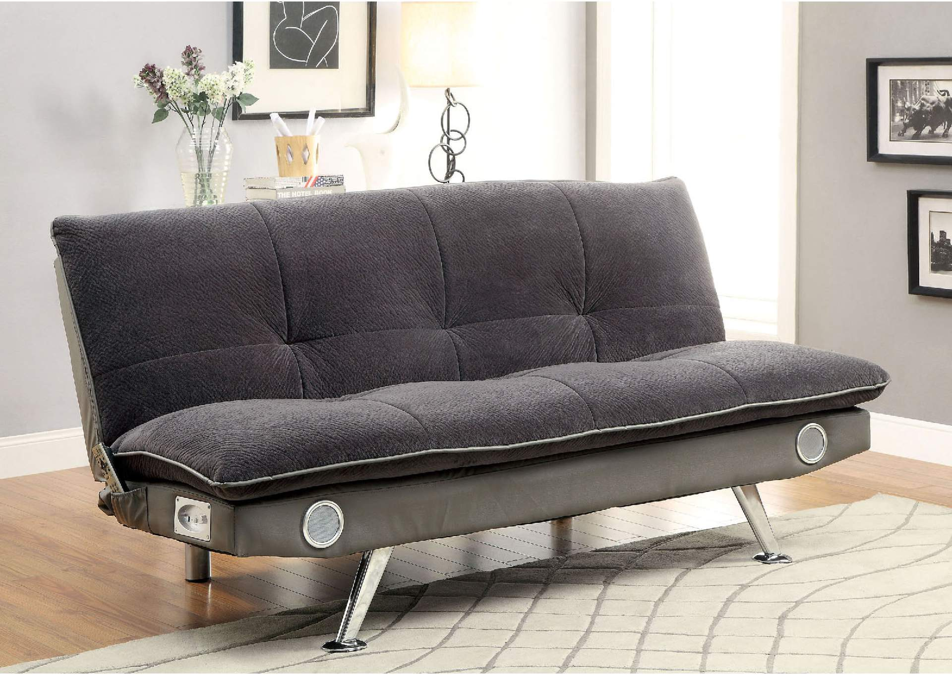 Gallagher Gray Futon Sofa W/ Bluetooth Speaker,Furniture Of America