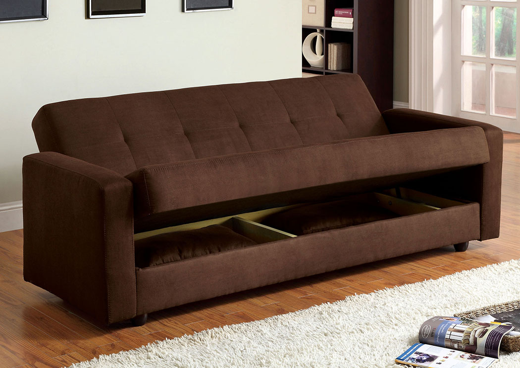 252335 Jansen Brown Microfiber Futon Sofa w/Storage