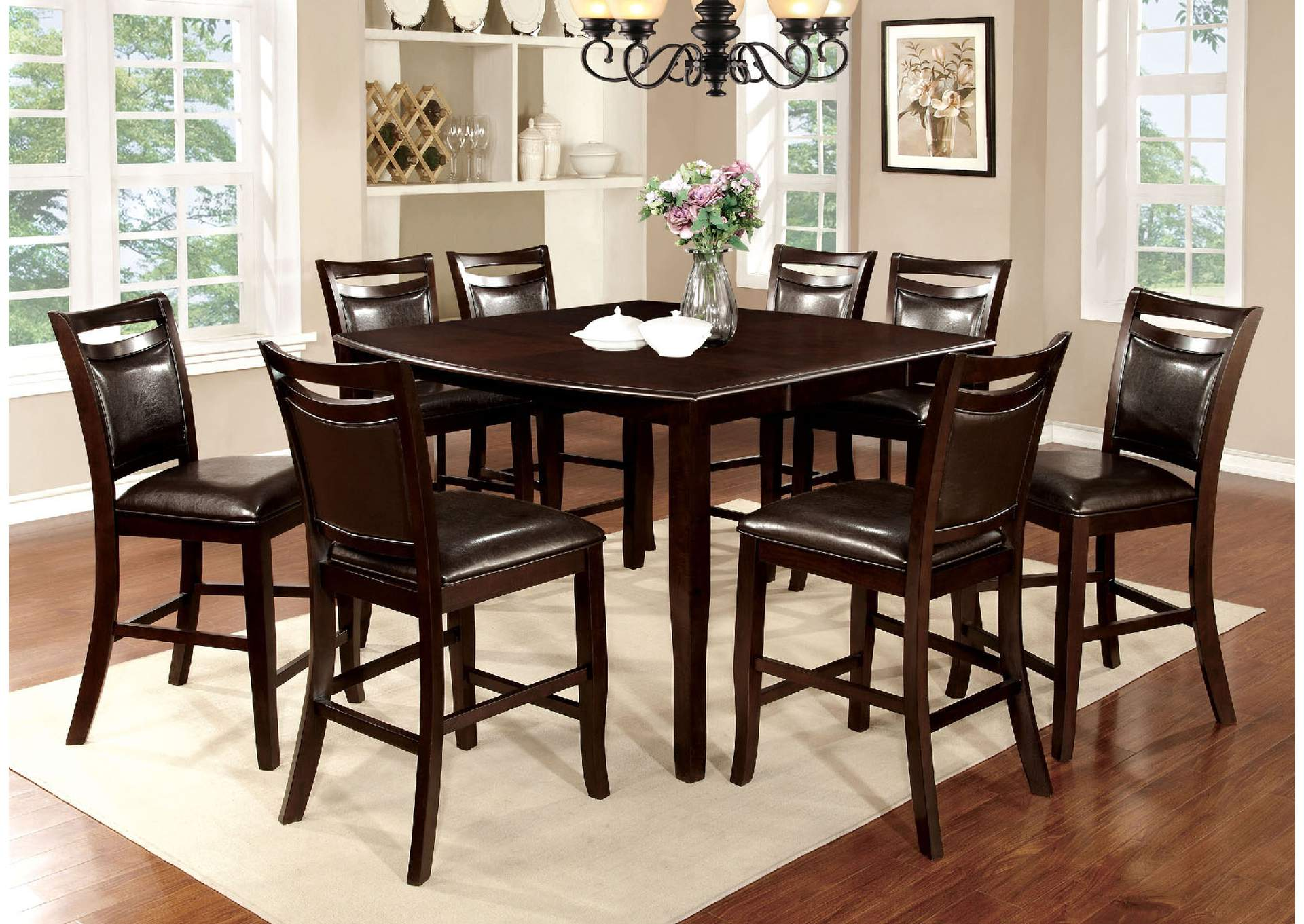 Woodside II Espresso Counter Height Table W/8 Counter Height Chairs, Furniture Of America