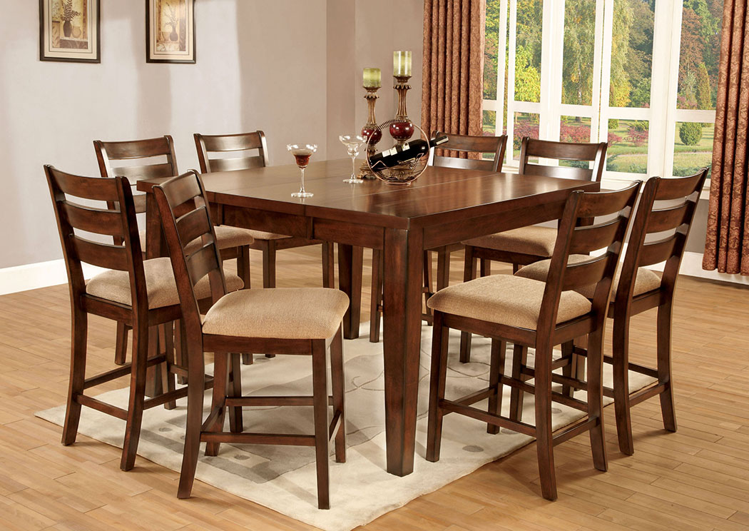 Brothers Fine Furniture Priscilla Ll Antique Oak Extension Leaf Counter  Height Table W/8 Counter Height Chairs