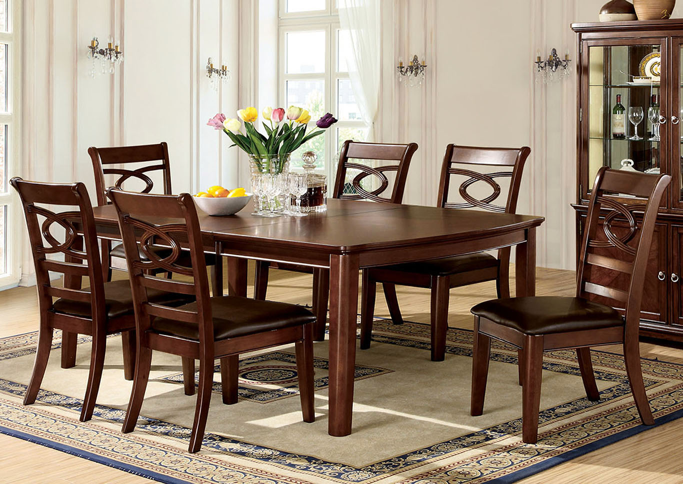 Quality Furniture WA Carlton Brown Cherry Extension Dining Table W 6 Side Chairs