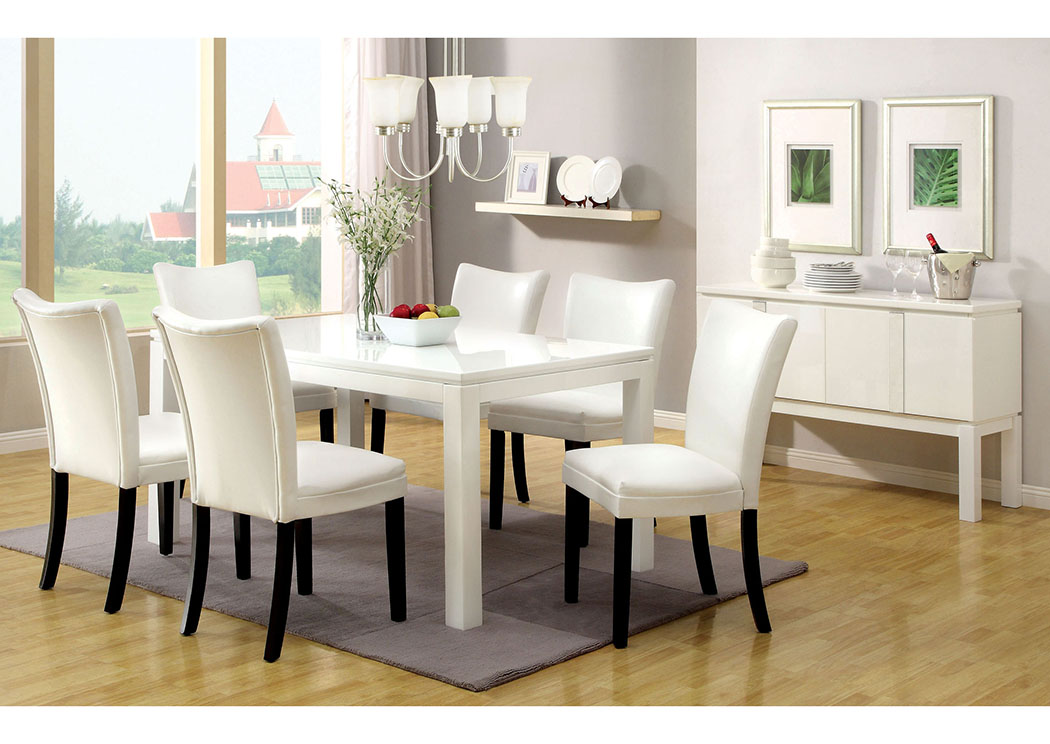 Lamia I White Dining Table W 4 Side ChairsFurniture Of America