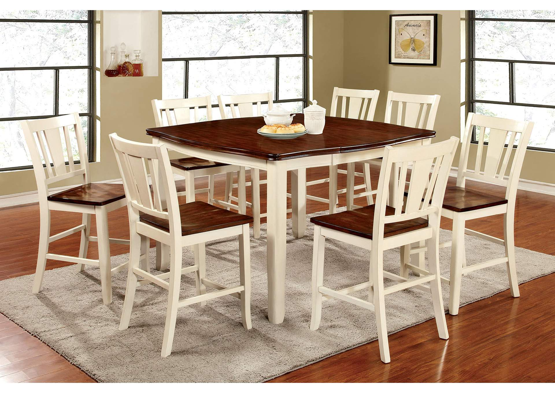 f068abdc2a326 K   K Custom Furniture Dover II Vintage White and Cherry Counter Height  Table