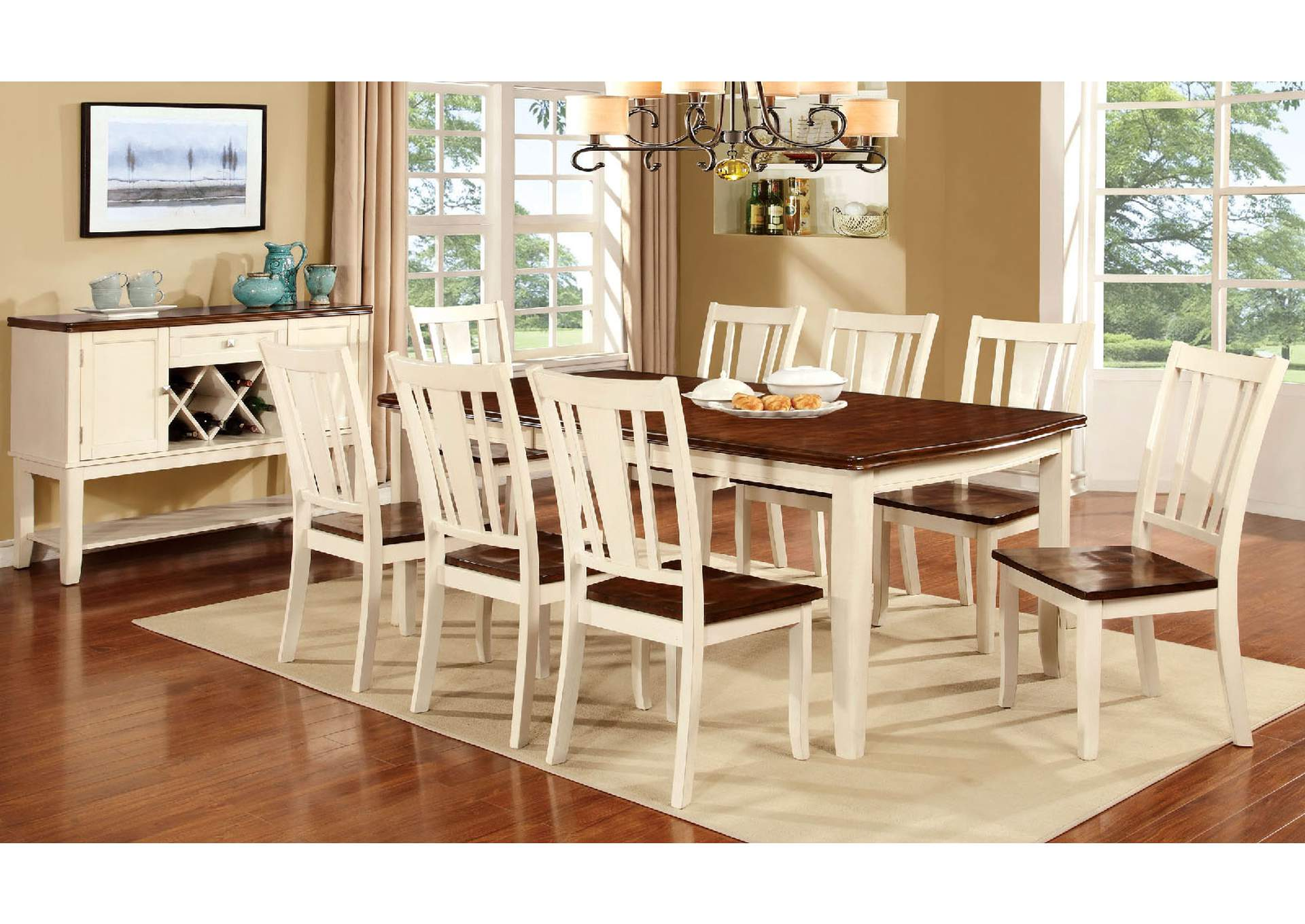Long Island Discount Furniture Dover White Cherry Extension Dining Table W 8 Side Chairs