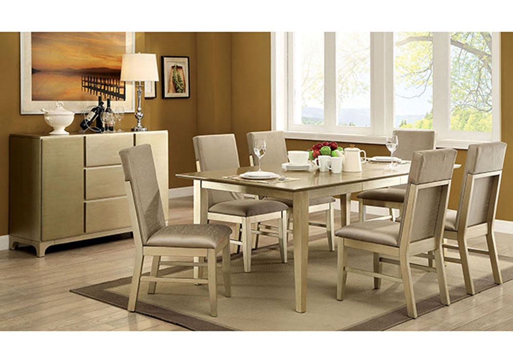 zelda gold dining table w4 side chairsfurniture of america - Chairs For Dining Room Table