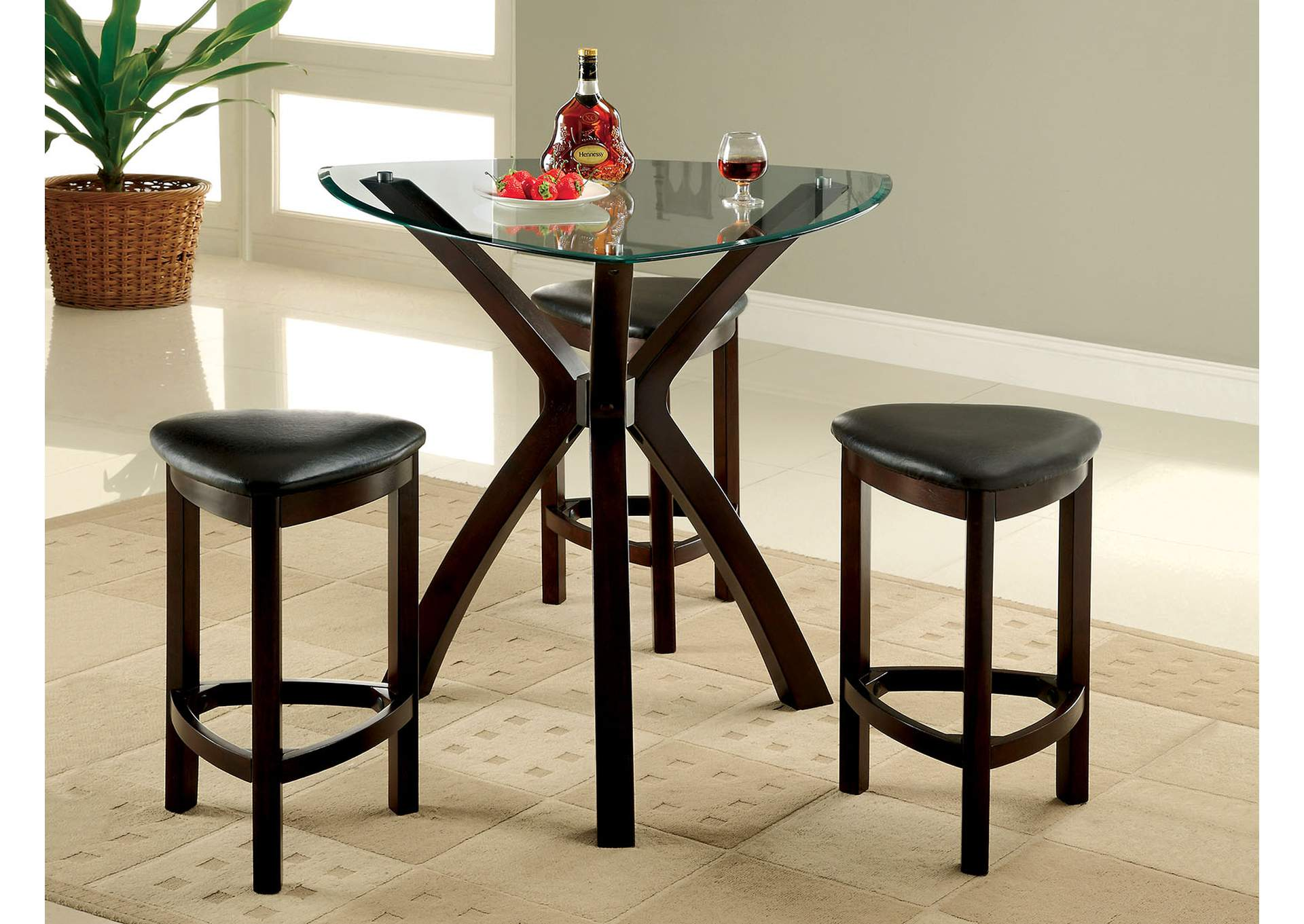 Quality furniture wa xanti 4 piece triangle glass top for Best quality dining tables