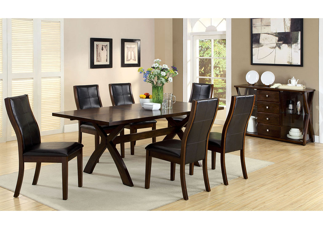 Toronto Dark Oak Cross Leg Extension Leaf Dining Table W 6 Side Chairs Furniture