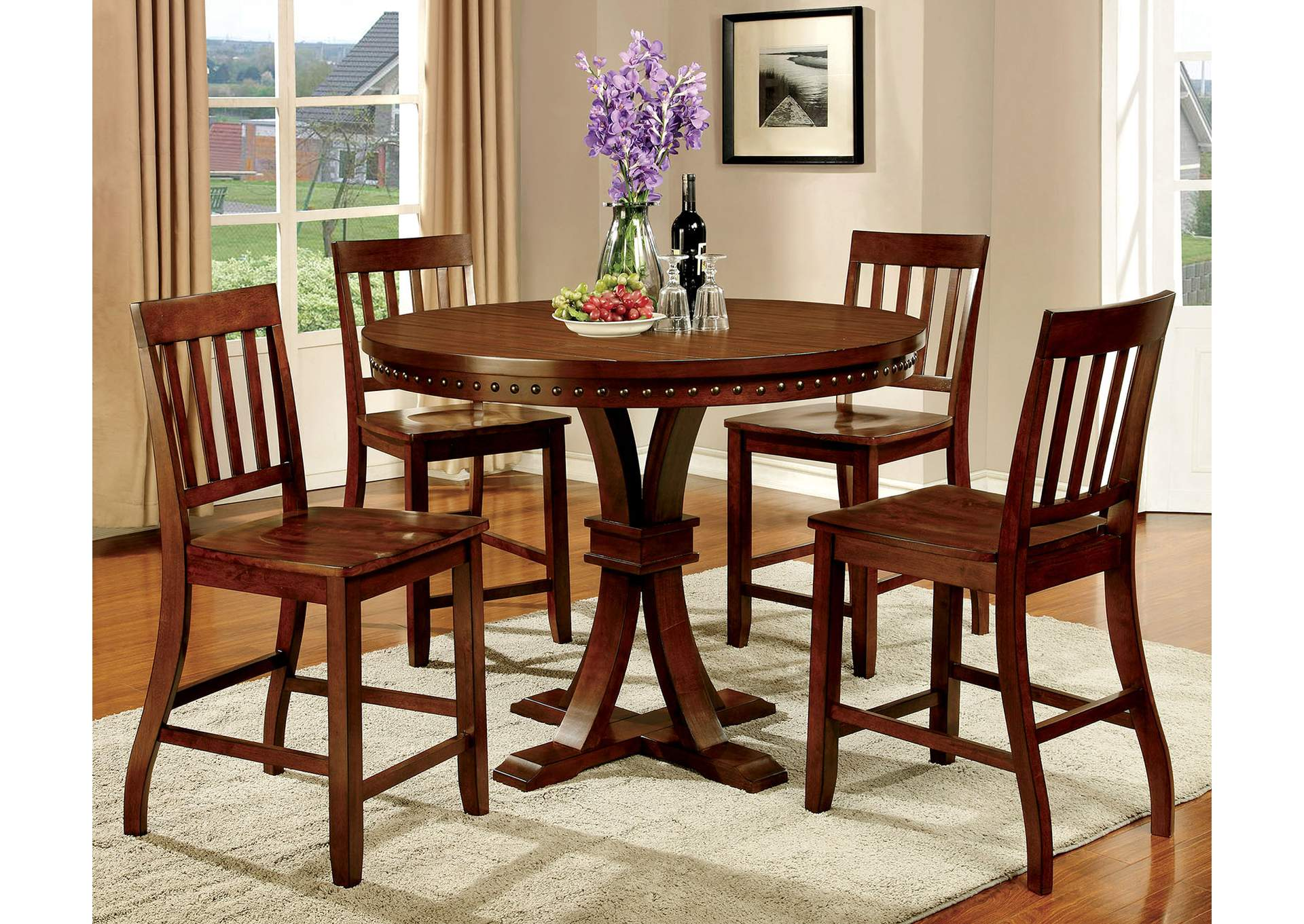 Foster II Dark Oak Counter Height Table W/4 Counter Height Chairs,Furniture  Of