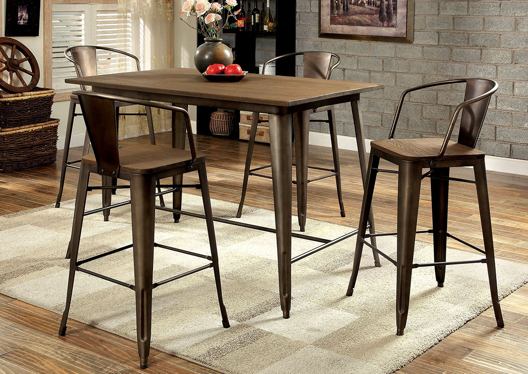 Peaceful Living Furniture Cooper Ll Elm U0026 Metal Counter Height Table W/4  Counter Height Chairs