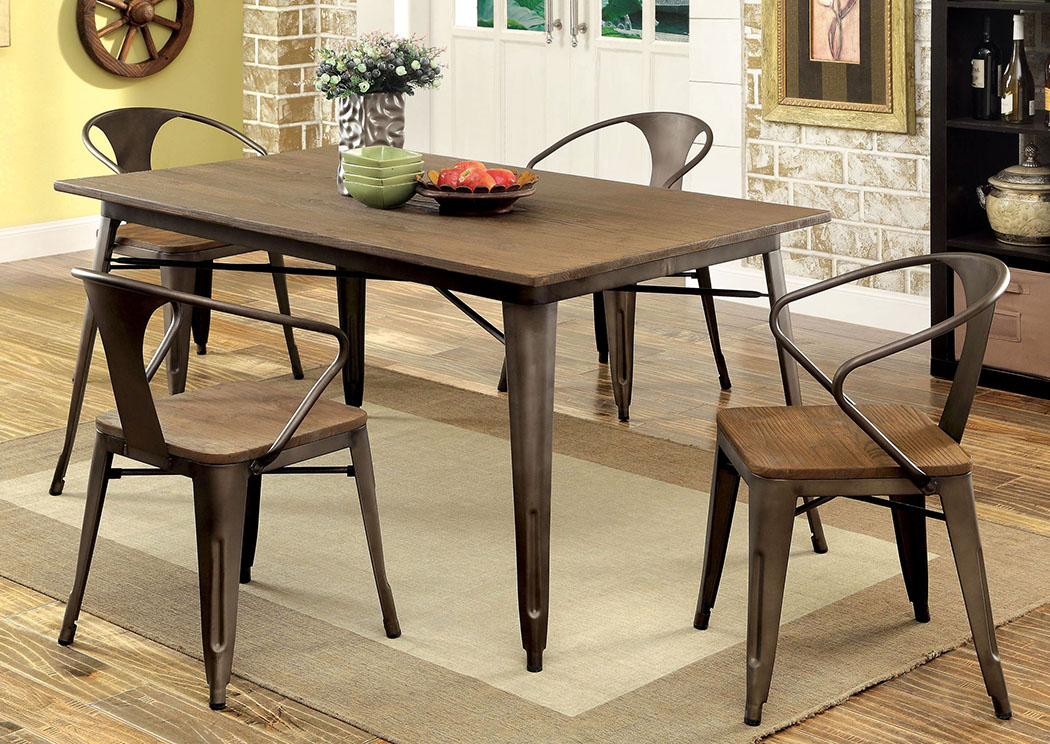 stanley 39 s furnishings cooper l 60 elm metal dining table w 4 side chairs. Black Bedroom Furniture Sets. Home Design Ideas