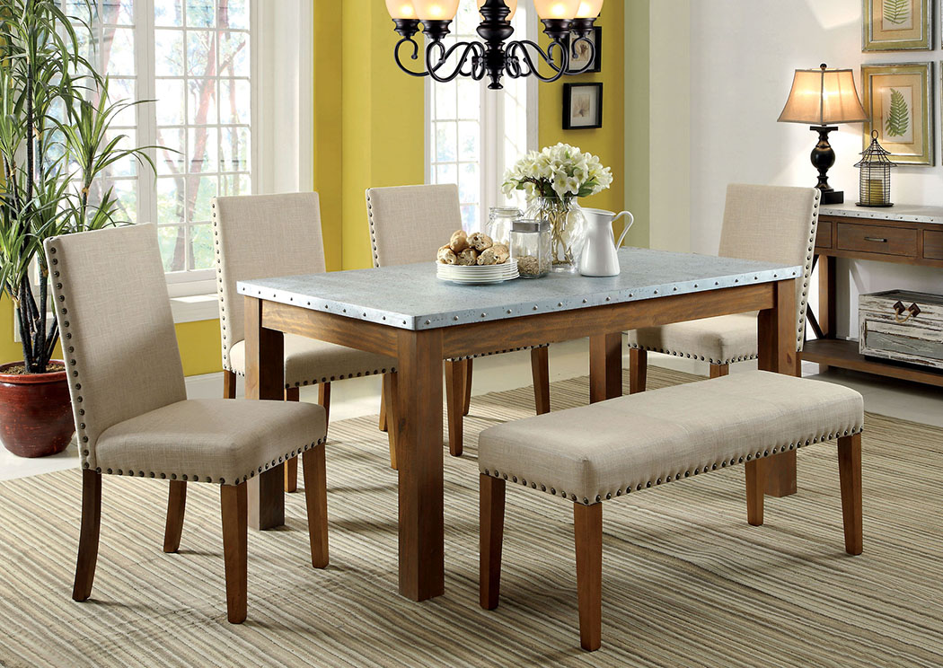 Walsh Galvanized Iron Nailhead Trim Top Dining Table W 4 Side Chair Bench