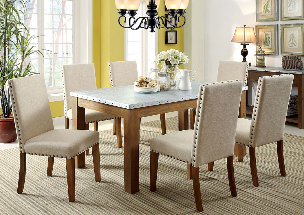 Walsh Galvanized Iron Nailhead Trim Top Dining Table W 6 Side Chairs Furniture