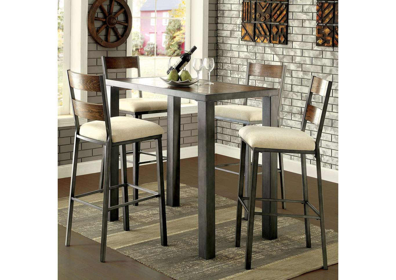 Jazlyn II Weathered Oak Pub Height Bar Table,Furniture of America