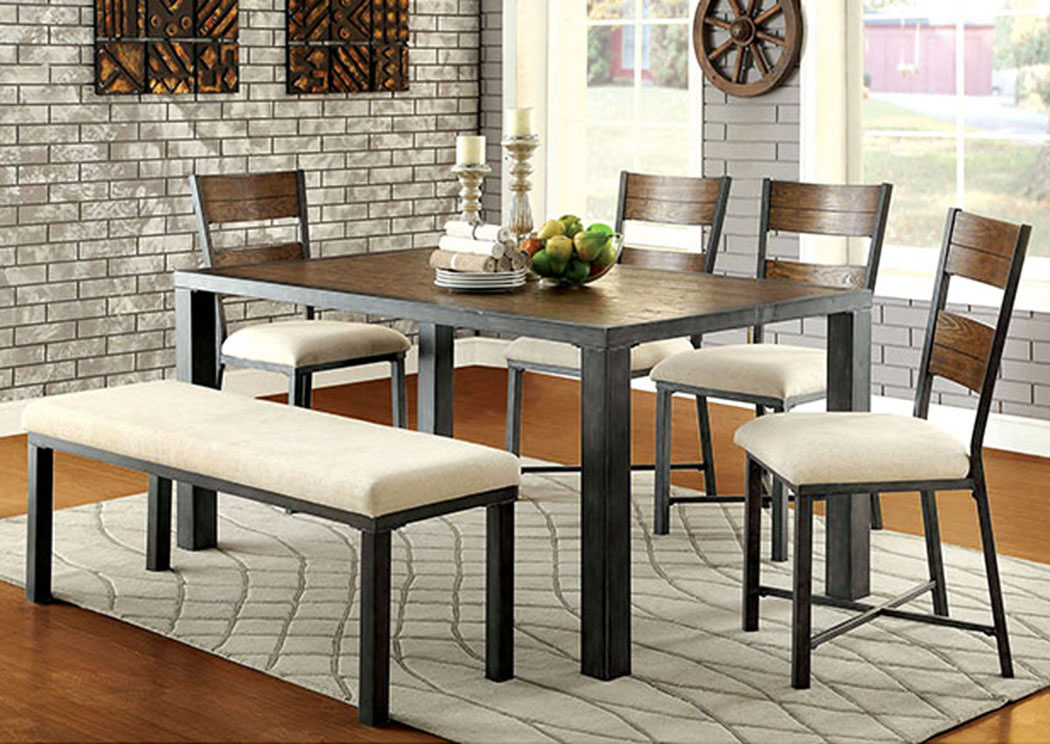 Jazlyn L Weathered Oak Dining TableFurniture Of America