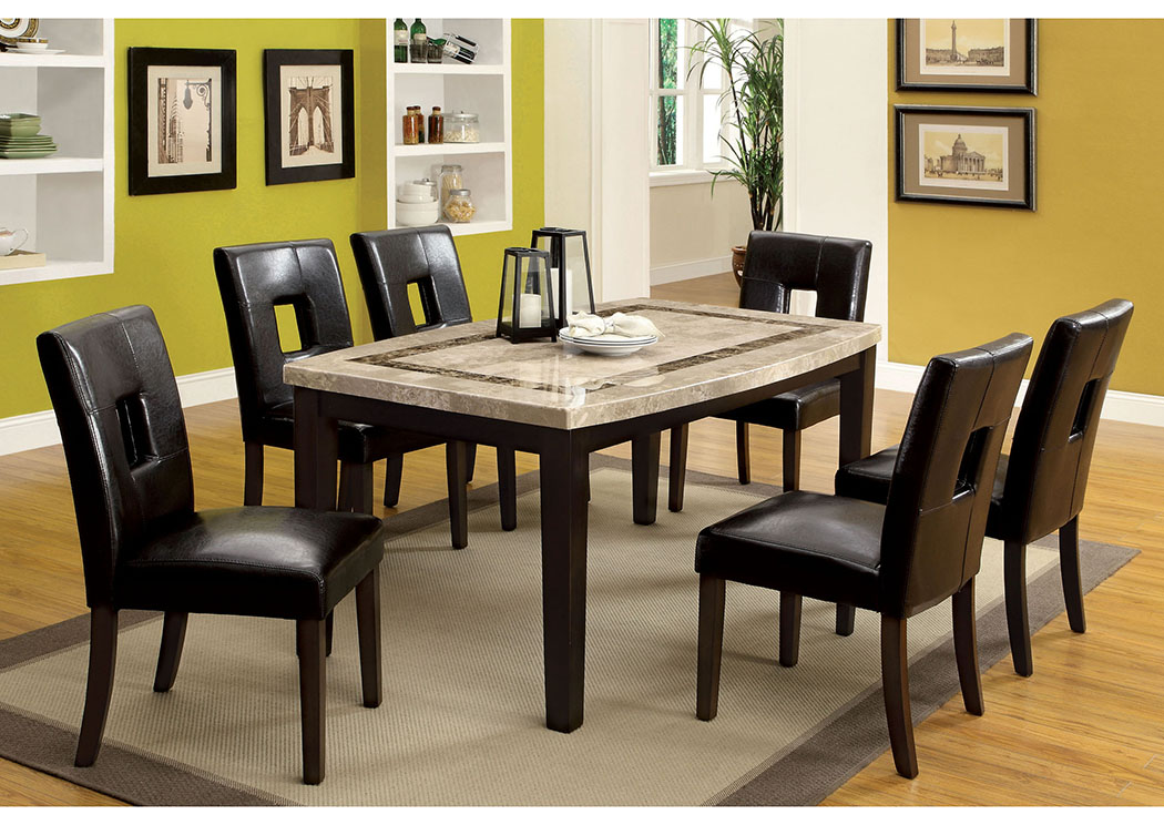 Lisbon I Dark Walnut Marble Top Oval Edge Dining TableFurniture Of America