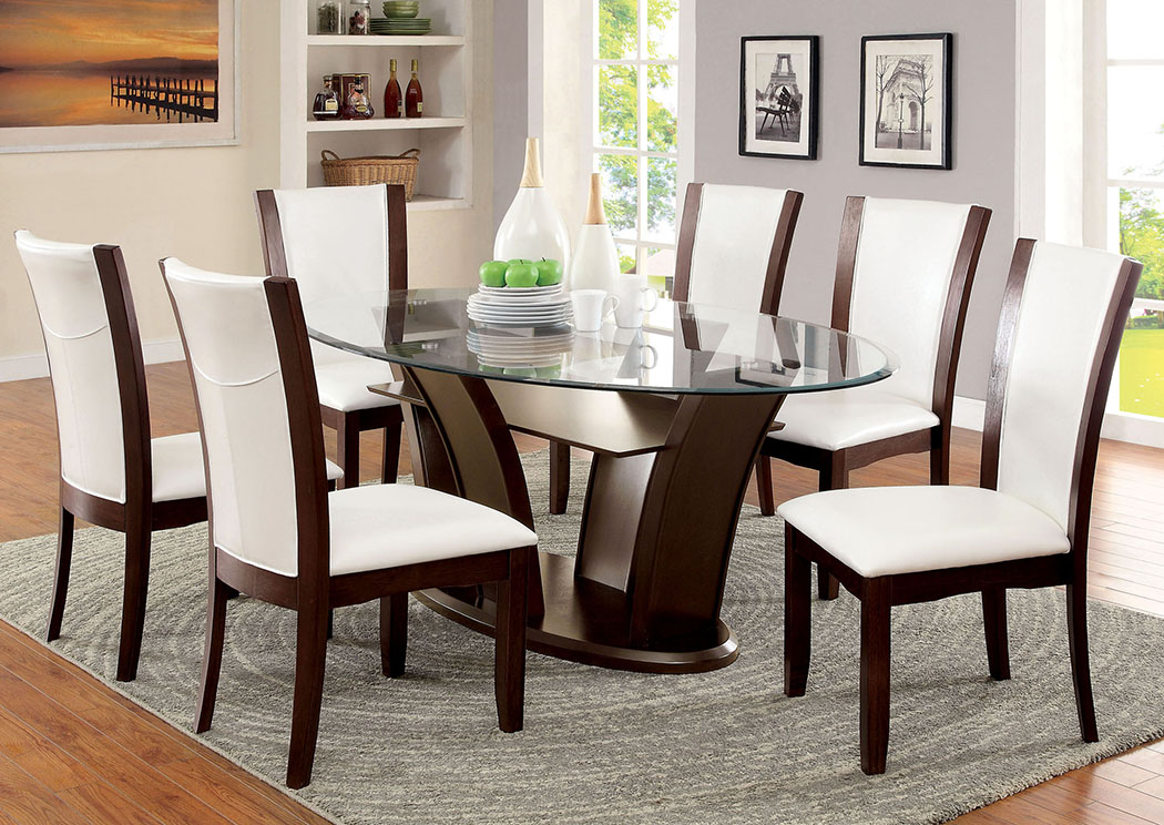 Manhattan L Oval Glass Top Dining Table W/6 Side Chairs,Furniture Of America