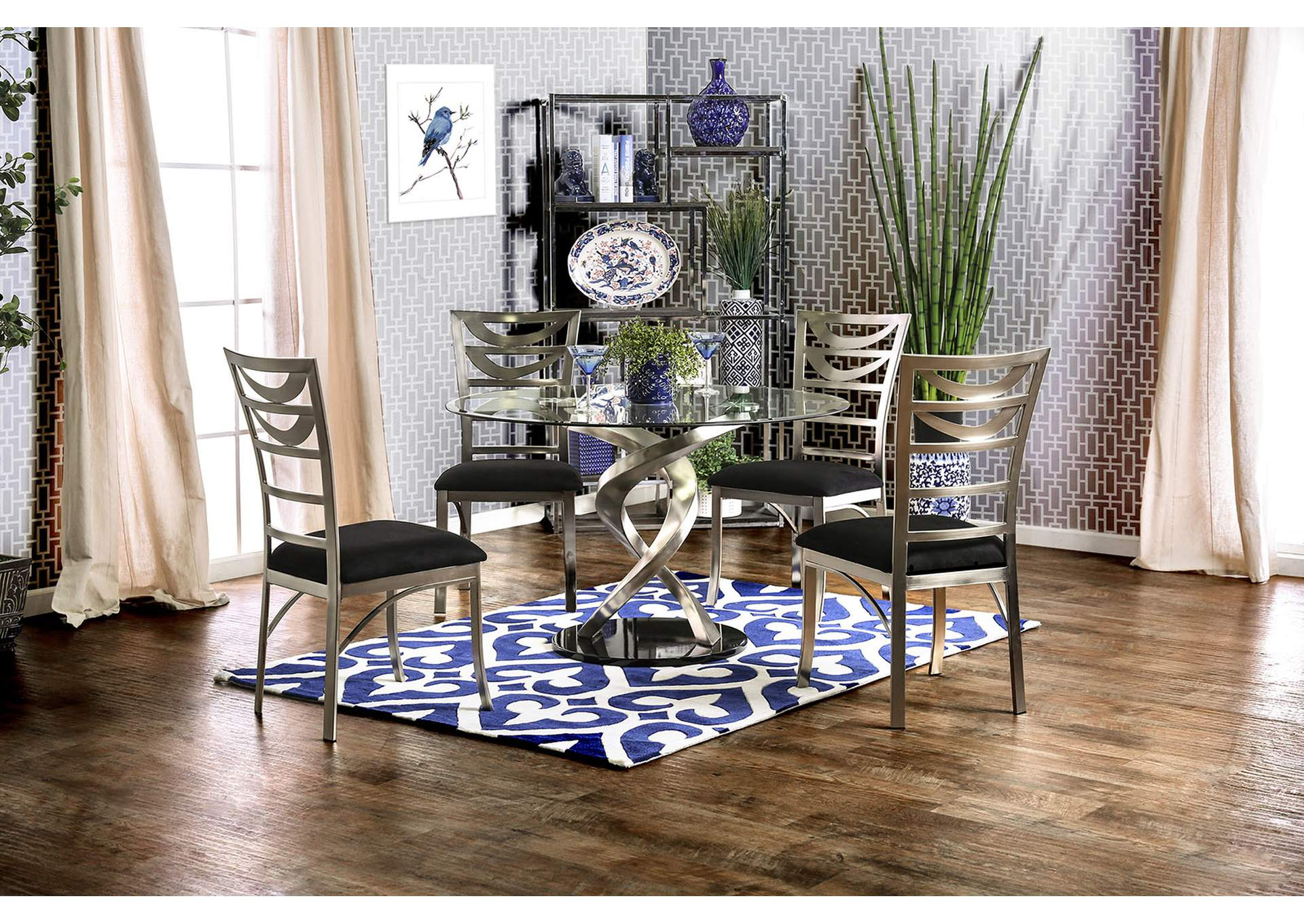 Furniture ville bronx ny roxo silver and black round dining table w 4 side chairs - Silver dining table and chairs ...