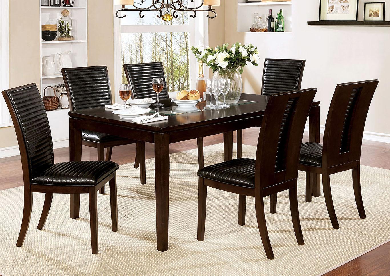 518785 Jenessa Espresso Dining Table W Glass Insert