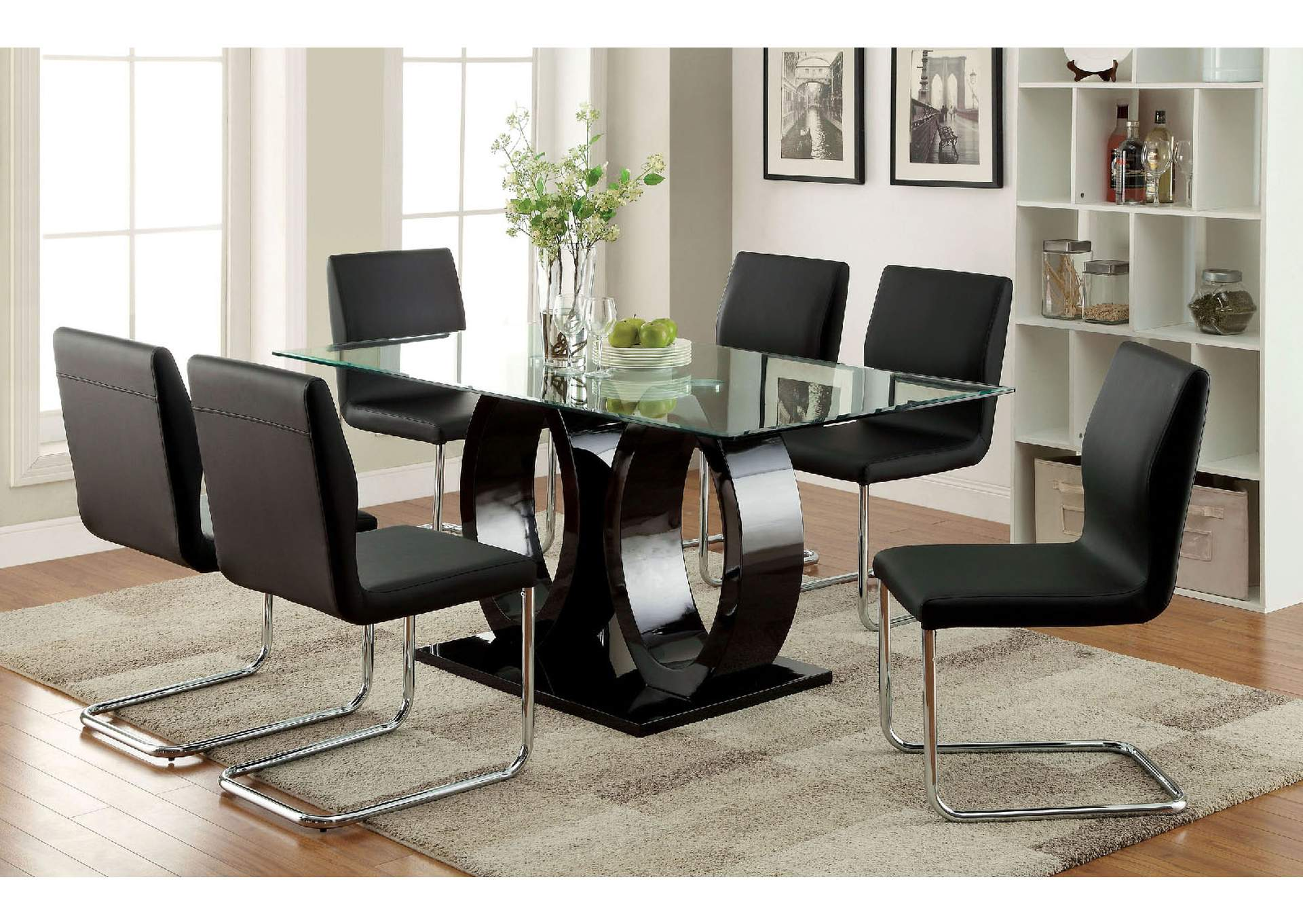 Lodia I Black 10mm Glass Top Dining TableFurniture Of America