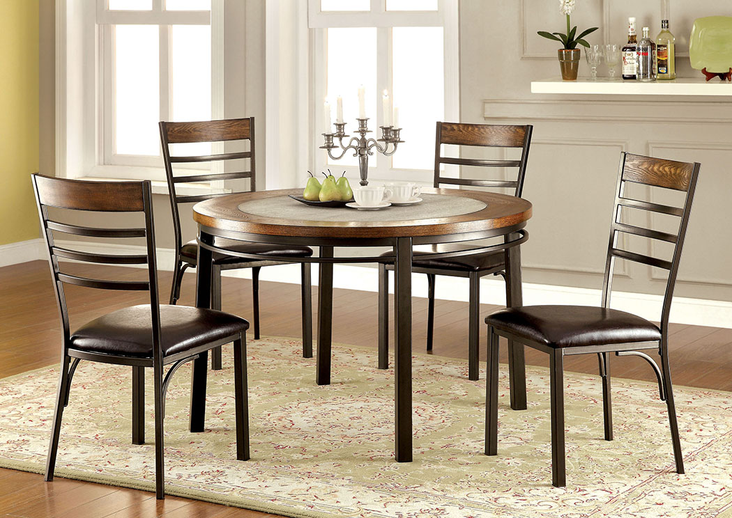 Hailey Elm Round Dining Table W Metal Legs Stone InsertFurniture Of America