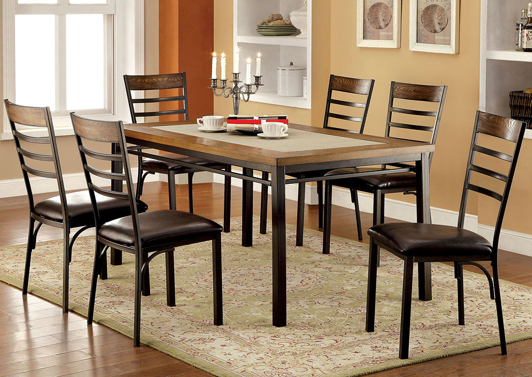 Hailey Elm Metal Stone Insert Top Dining Table W 4 Side ChairsFurniture