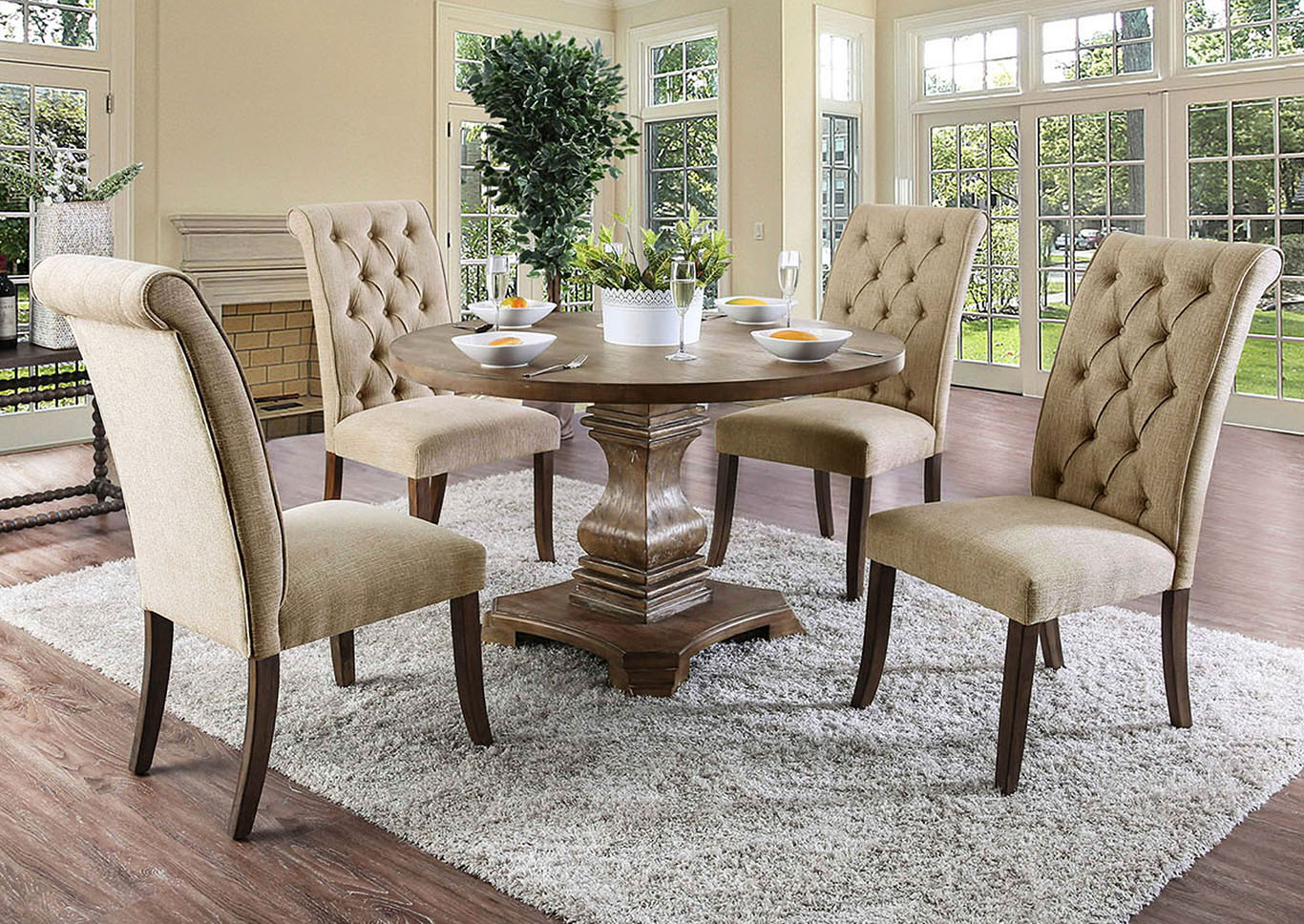 IDeal Furniture Of Metro Atlanta Nerissa Antique Oak Square Dining Table