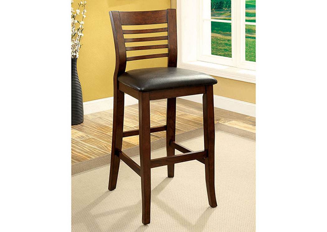 Dwight II Medium Oak Ladder-Back Bar Chairs (Set of 2),Furniture of America
