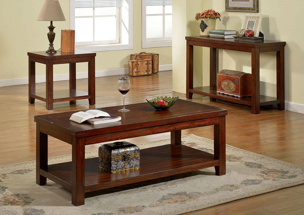 Estell Dark Cherry Coffee Table W/Open Shelf,Furniture Of America