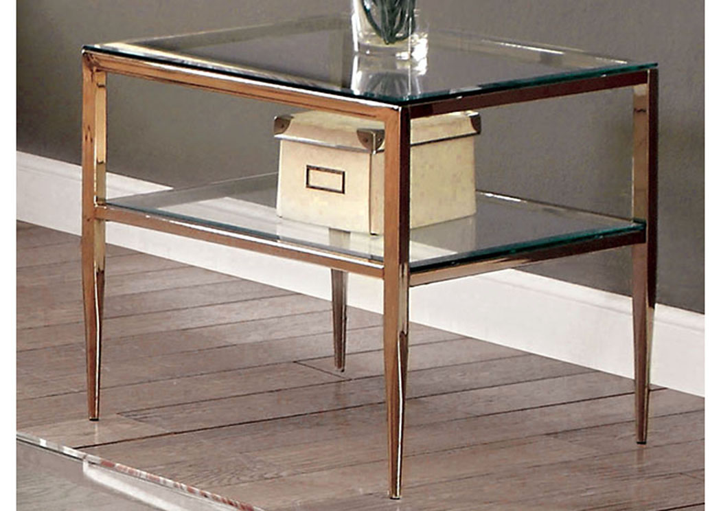 Tanika Gold Glass Top End Table W/Glass Shelf,Furniture Of America