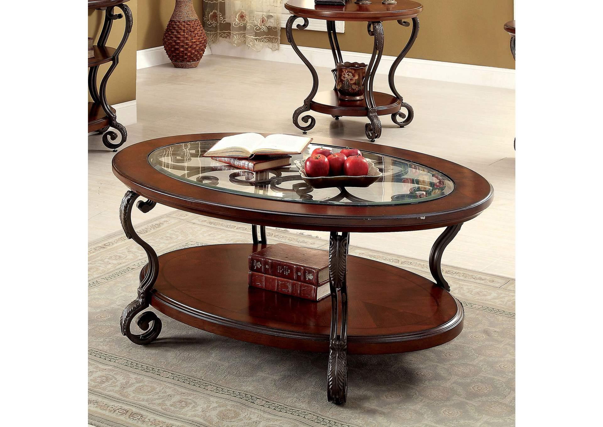 May Brown Cherry Ornate Coffee Table W/Glass Top U0026 Shelf,Furniture Of  America