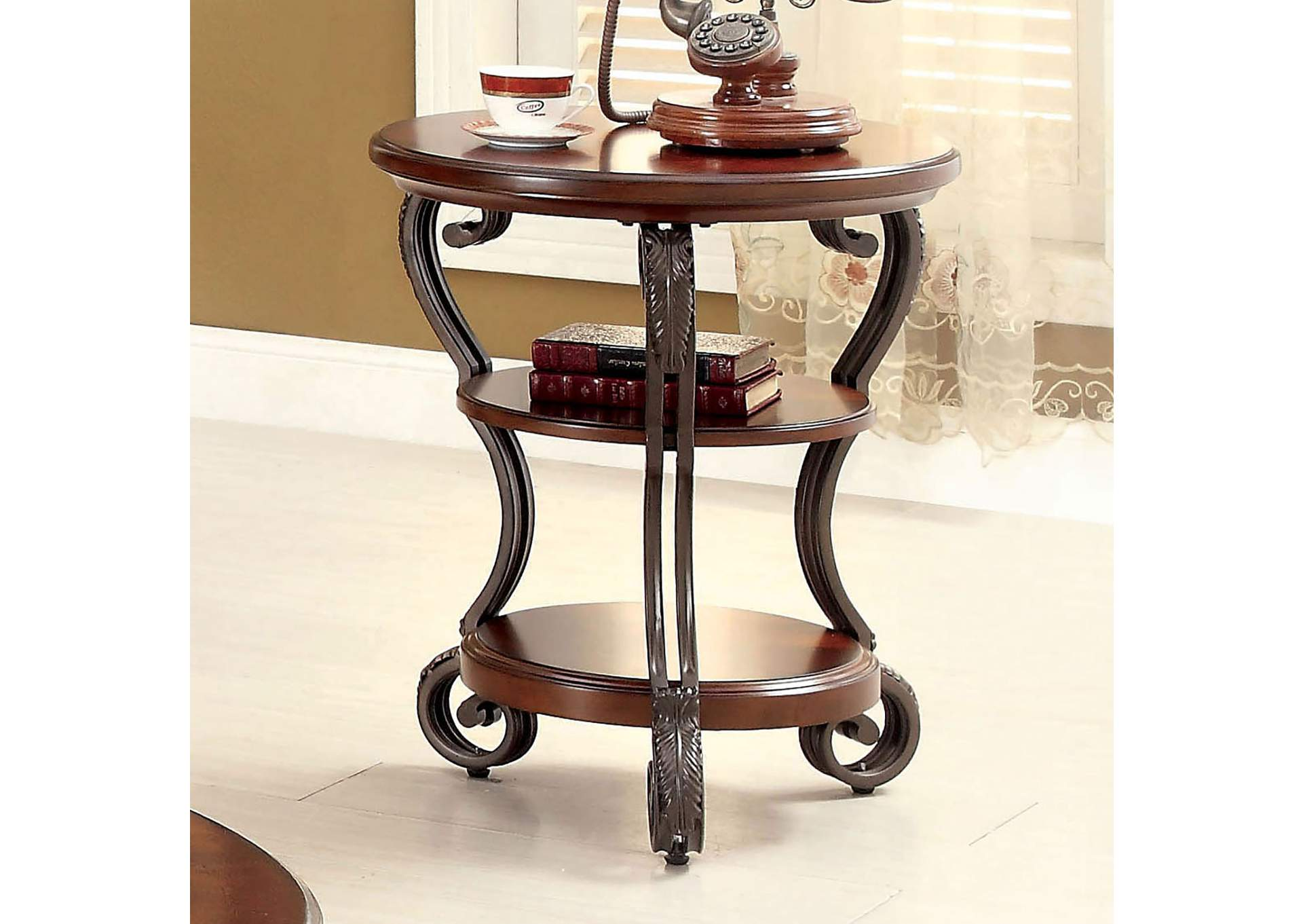 May Brown Cherry Ornate Side Table W/Shelf,Furniture Of America