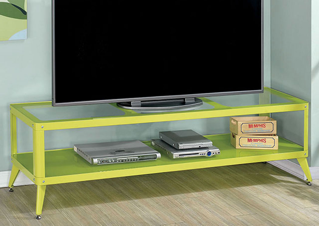 Coller 72u0027 Apple Green Metal TV Stand W/Glass Shelf,Furniture Of America