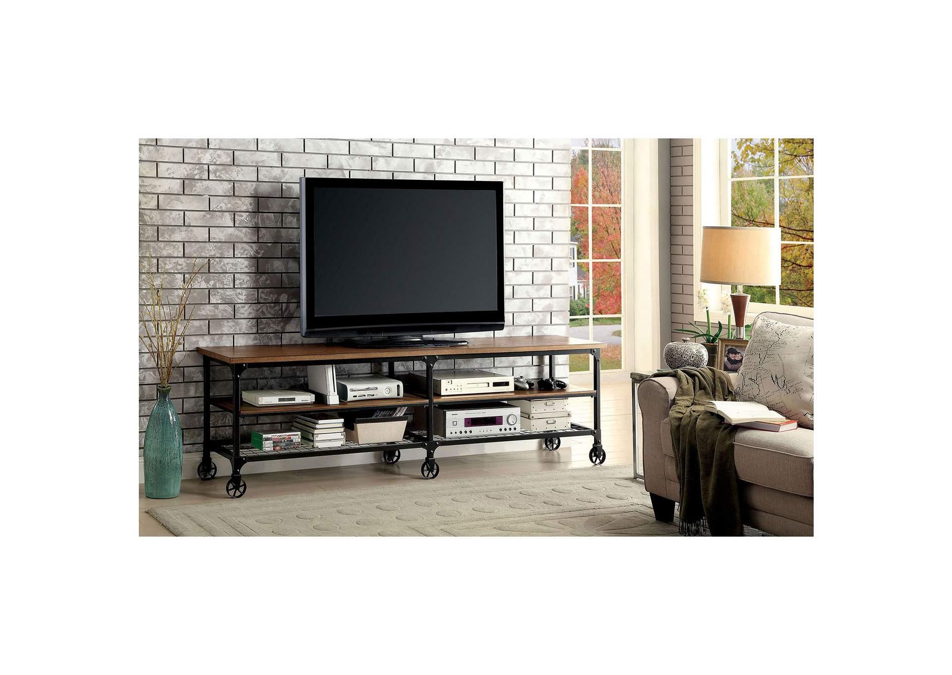 Ventura Ll 72u0027 Oak TV Console W/Casters,Furniture Of America