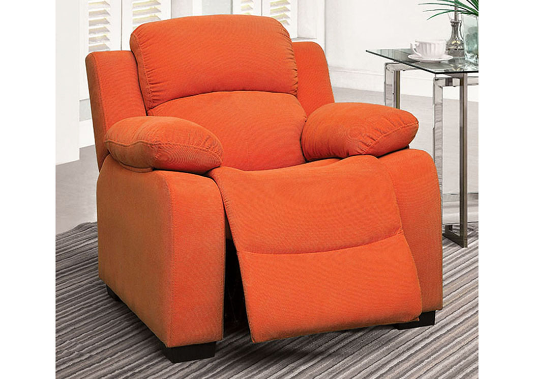 Connie Orange Kids Recliner Chair W/Storage,Furniture Of America