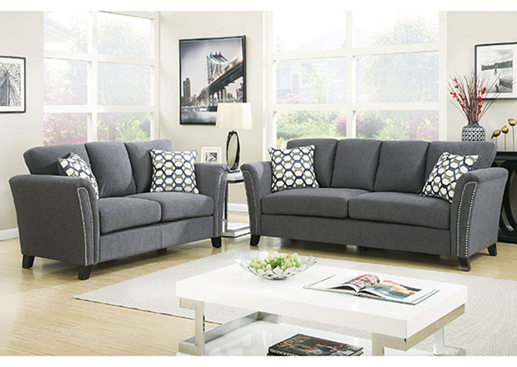 Council S Furniture Campbell Gray Sofa And Loveseat W
